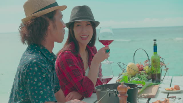 Young couple having lunch outdoors. Young people prepare for eat and drink outdoors. Young people having fun camping. jp201806 stock videos & royalty-free footage