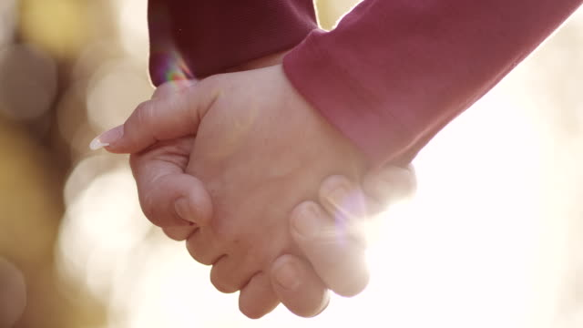 Young couple holding hands in park video