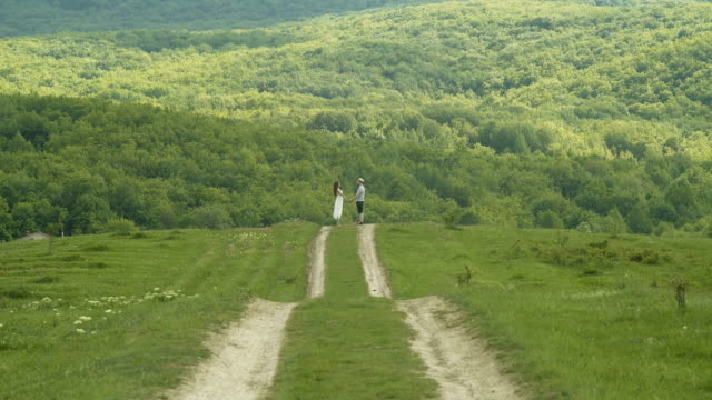 Young Couple Holding Hands In The Field video