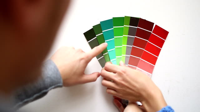 Young couple in new home selecting wall colour video