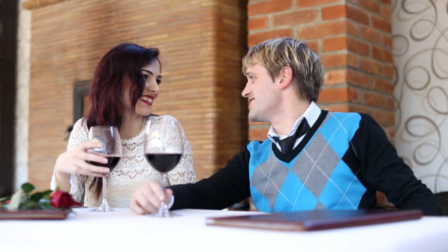 Young couple in the restaurant (HD) video