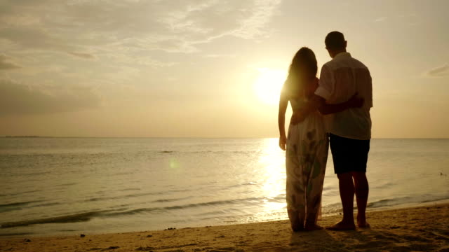 A young couple is standing on the beach, admiring the sunset over the sea video
