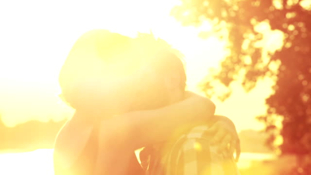 Young couple kissing video