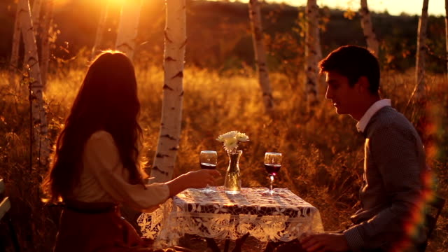 Young Couple Marriage Proposal Sunset Romance video