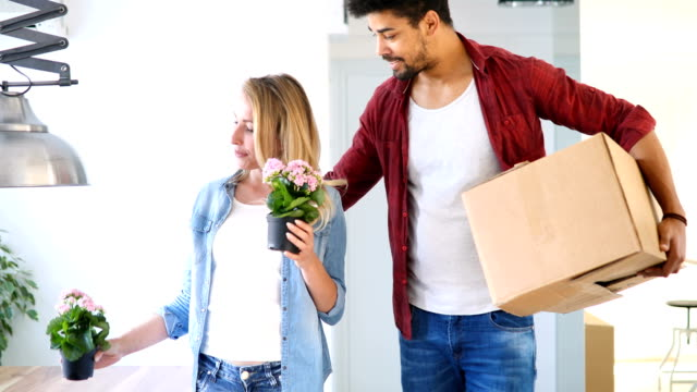 Young couple Moving in new home and unpacking carboard boxes video