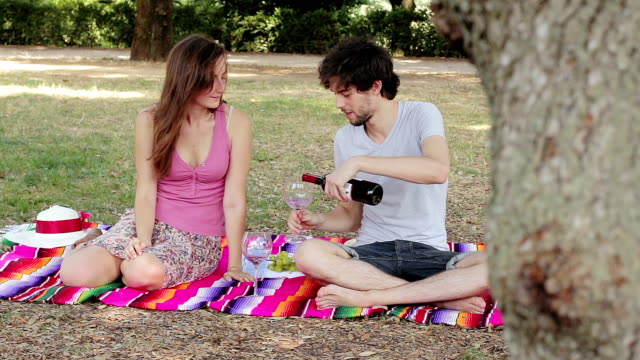 young couple takes a picnic to the park and eat grapes and kiss - tracking shot video