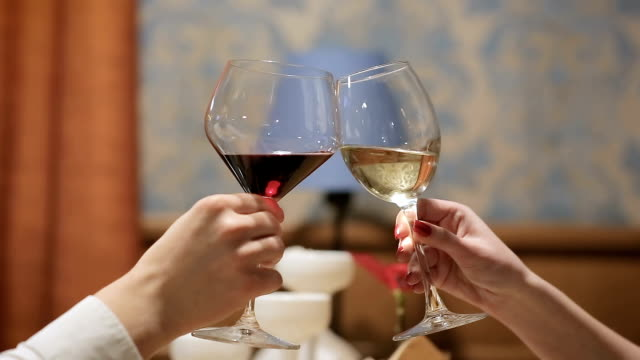 young couple toasting with wine glass and champagne in a restaurant. two people toasting with a glass of champagne and wine in a party. celebrate with cheers at the birthday party or business hiring. - czerwone wino filmów i materiałów b-roll