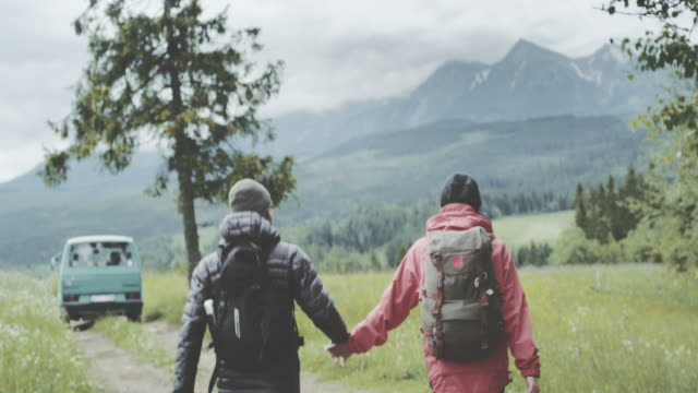 young couple walking together in mountains - природный парк стоковые видео и кадры b-roll