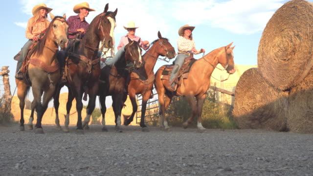 夕暮れ時のファームを歩く馬の若いカウボーイ - 動物に乗る点の映像素材/bロール