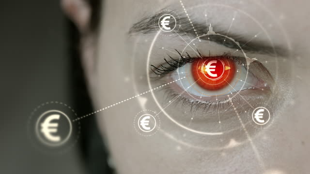 Young cyborg female blinks then Euro currency symbols appears. video