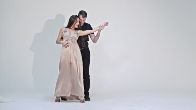 Young Dancers Couple Are Dancing Passionate Latin American Dance video