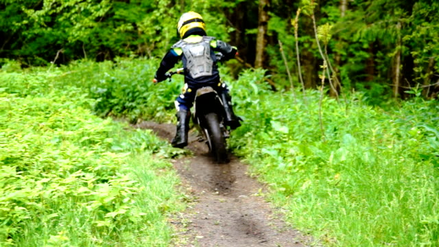 young dirt biker riding on a trail in the woods - motocross video stock e b–roll