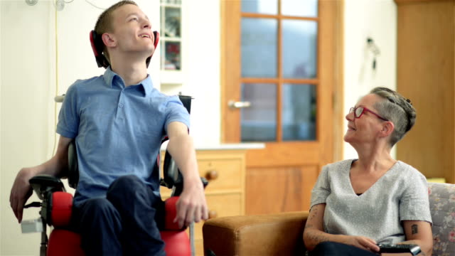 Young disabled son and his mother video