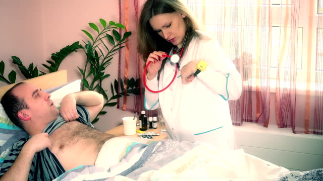 Young doctor visit her patient guy at home video