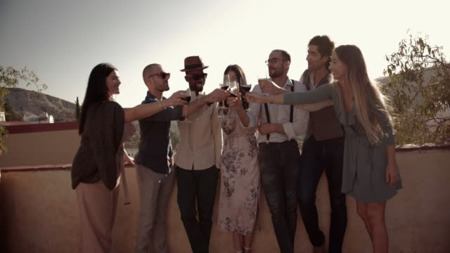 Young elegant friends toasting with alchohol at mountain cottage party video