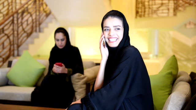 Young Emirati women in the SPA lobby video