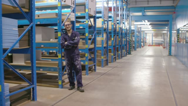 Young factory worker Full length of young factory worker in protective work wear standing by a large shelf in warehouse leaning stock videos & royalty-free footage