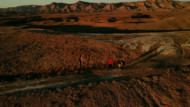 Young Family Exploring in Western USA Desert 4K Drone Video Series