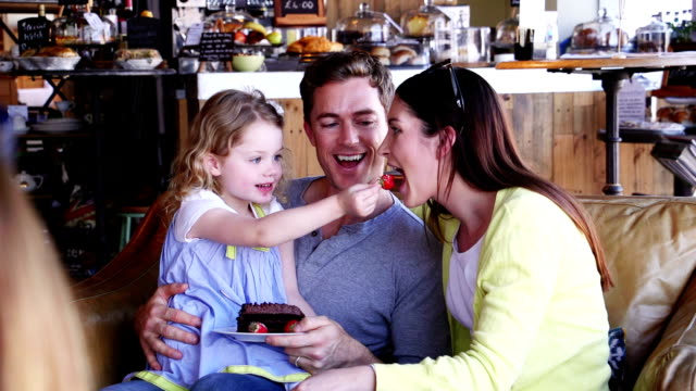 Young Family in Cafe video