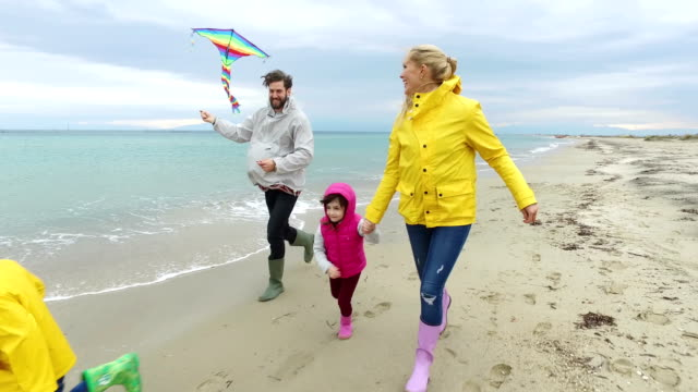 Young family on the beach video