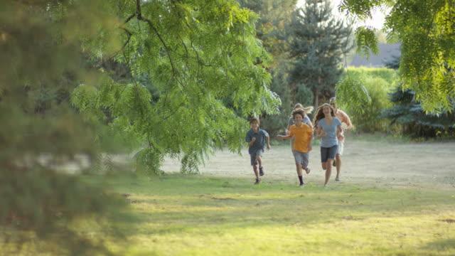 junge familie laufen zusammen im freien - smiley stock-videos und b-roll-filmmaterial