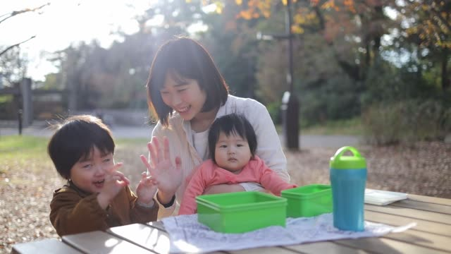若い家族公園で休憩を取って - 母娘 笑顔 日本人点の映像素材/bロール
