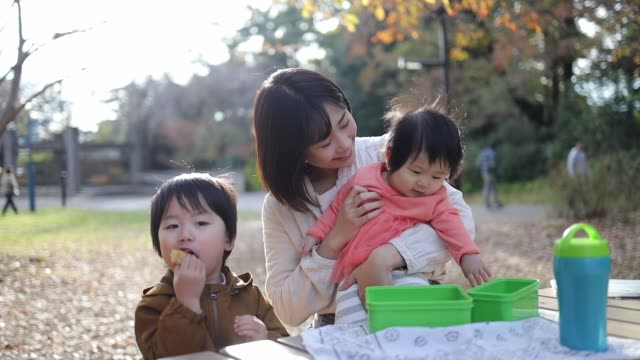 young family taking a break in public park - picnic video stock e b–roll