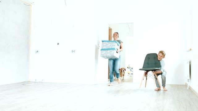 Jeune famille avec chien beagle apporte les cases dans la nouvelle maison - Vidéo