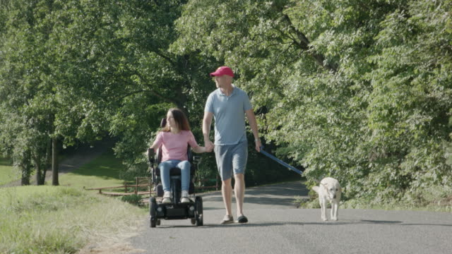 Young Family with Dog go for a Walk on a Country Road video