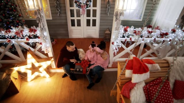 junge familie mit kleiner tochter und hund sitzt auf veranda mit weihnachtsbaum - girlande dekoration stock-videos und b-roll-filmmaterial
