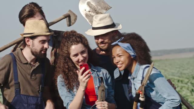 Young Farmers Taking Selfie on Field video
