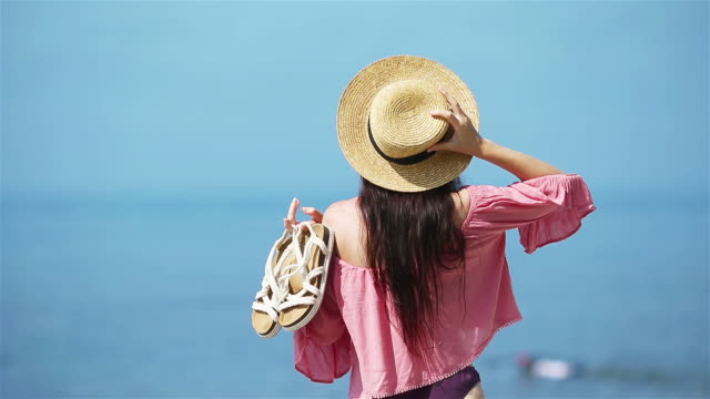 young fashion woman on the beach - eastern european descent stock videos & royalty-free footage