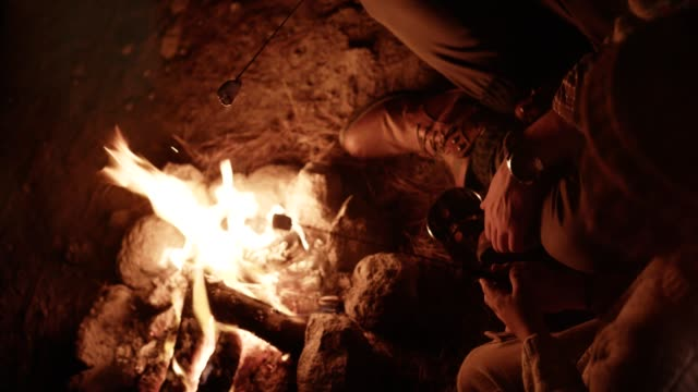 Young Father And Son Roasting Marshmallows Over Campfire At Night Video