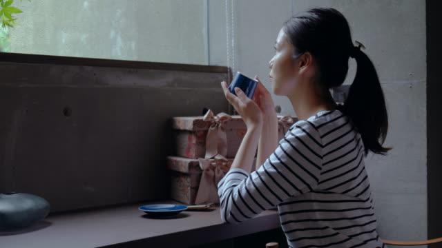 若い女性自宅 - ソファ 女性点の映像素材/bロール