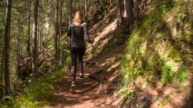 Young female athlete running through the woods video