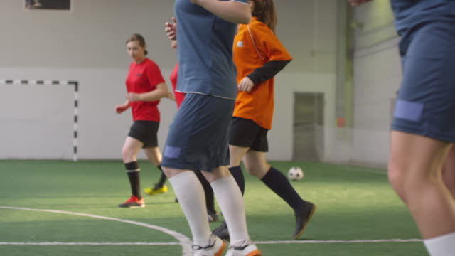 Young Female Athletes Warming Up before Soccer Game Side view shot of female team of professional soccer athletes in sports uniform doing warmup pregame workout on indoor field pre game stock videos & royalty-free footage