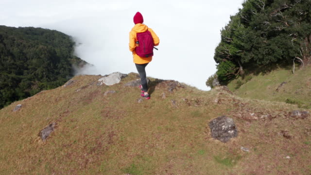 vídeos de stock e filmes b-roll de young female backpacker dressed orange waterproof jacket hiking by the mountain above the cloud route on madeira island, portugal. active people around  world traveling concept aerial 4k drone view. - ilha da madeira