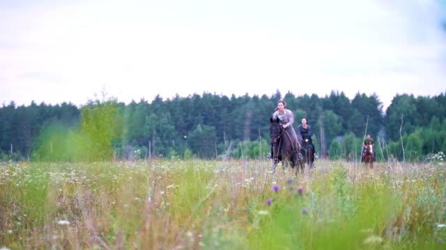 若い女性馬術分野で馬に乗って疾走 - 動物に乗る点の映像素材/bロール
