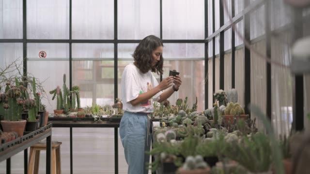 junge bäuerin prüft die kaktustopfpflanze - wissenschaftlerin stock-videos und b-roll-filmmaterial
