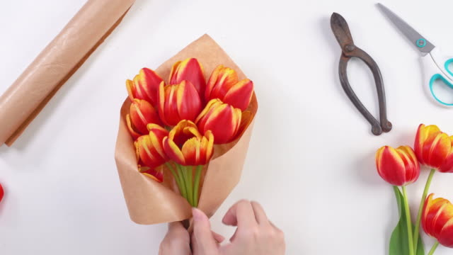 young female florist is wrapping a red color tulip flower bouquet for mother's day gift with tie ribbon bow over a white table background, top view, 4k uhd video footage shot. - avvolgere video stock e b–roll