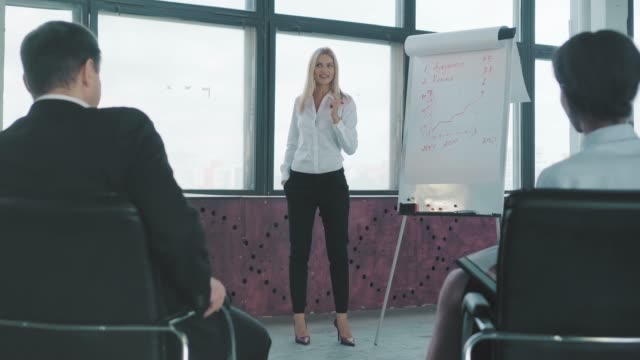 A young female manager in high heels stands near a flipchart, gestures and gives a presentation to her colleagues. Creative office interior. Co-working. Office life. Workers video