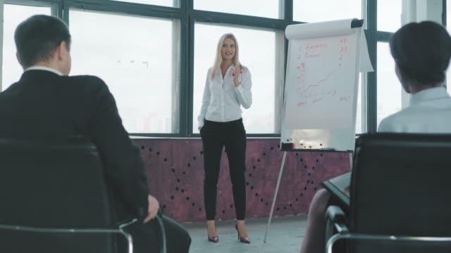 ハイヒールを履いた若い女性マネージャーがフリップチャートの近くに立ち、ジェスチャーをして、同僚にプレゼンテーションを行います。クリエイティブなオフィスインテリア。コワーキ� ビデオ