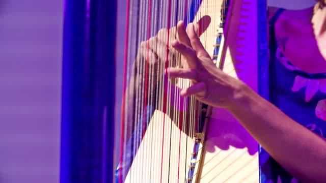 ung kvinnlig musiker sensuellt spelar harpa - gitarrist bildbanksvideor och videomaterial från bakom kulisserna