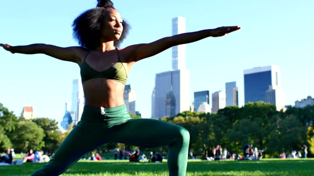 Young Female Practicing yoga in the Central Park, New York video
