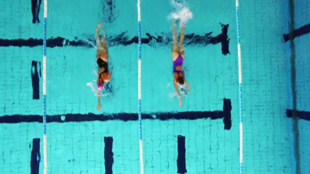 Young female swimmers in the pool video