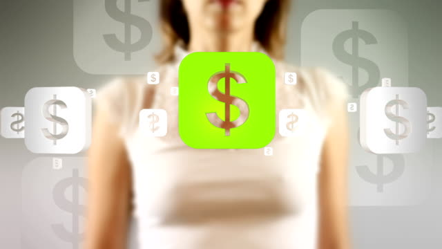 Young Female Touching On Screen Dollar Currency Symbols Appears video