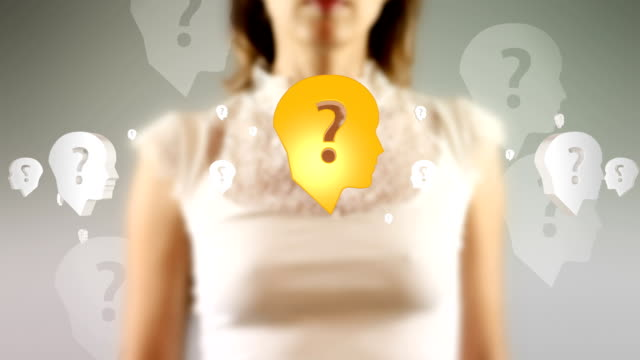 Young Female Touching On Screen Head Question Symbols Appears video