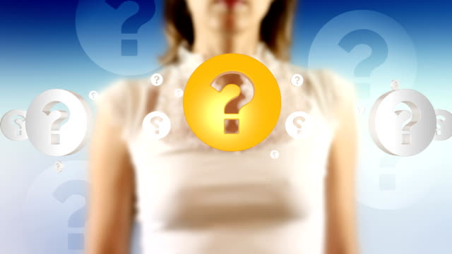 Young Female Touching On Screen Question Mark Symbols Appears Young female touching on a high tech screen then Question Mark Symbols appears. Camera slowly zooming out. Professional keying with artistic look and background animations. High quality render, banding free, minimum compression for highest quality. faq stock videos & royalty-free footage
