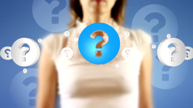 Young Female Touching On Screen Question Mark Symbols Appears video