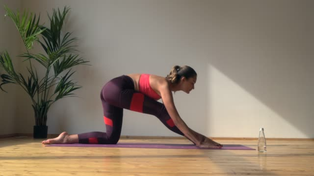 young fit female doing gymnastic split young fit woman doing gymnastic split in stretching studio interior doing the splits stock videos & royalty-free footage